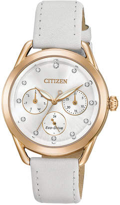 Citizen Drive from Eco-Drive Women Chronograph White Leather Strap Watch 38mm