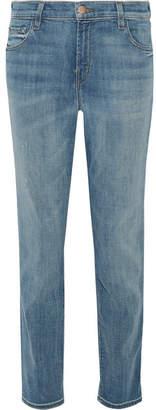 J Brand Johnny Distressed Boyfriend Jeans - Mid denim