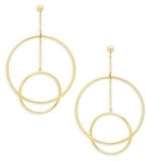 Saks Fifth Avenue 14K Gold Double-Hoop Chain Drop Earrings