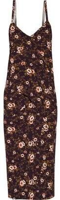 Rochas Ruffled Floral-Print Crepe Midi Dress