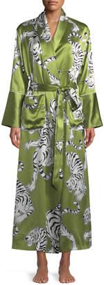 Olivia Von Halle Capability Rola Screen-Print Long Robe