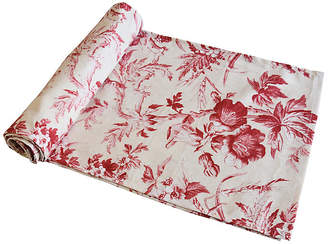 One Kings Lane Vintage Red & Ivory Trailing Floral Table Runner