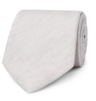 Dunhill 8cm Herringbone Linen and Mulberry Silk-Blend Tie - Men - Beige