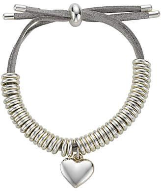 John Lewis & Partners Heart Charm Bangle, Silver/Grey