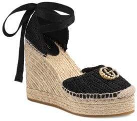 Gucci GG Crochet Espadrille Wedge Sandals