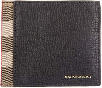 Burberry men's genuine leather wallet credit card bifold tartan house check blac