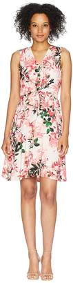 Calvin Klein V-Neck Floral Dress with Tie Front CD8E31MB Women's Dress