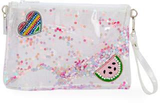 clear Bari Lynn Girls' Glittered Jelly Pouch Bag