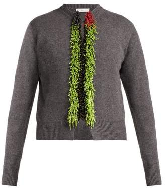Toga Beaded Wool Blend Cardigan - Womens - Grey