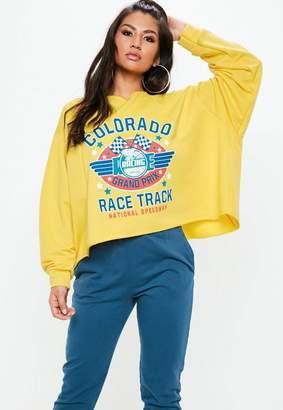 Missguided Mustard Motorcross Graphic Sweatshirt