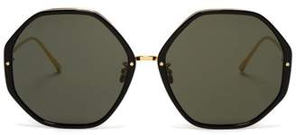 f77f791b61 Linda Farrow Oversized Hexagonal Frame Sunglasses - Womens - Black Gold