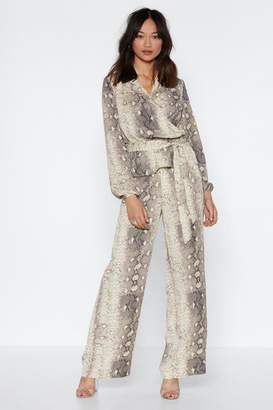 Nasty Gal Snake Out Wide-Leg Pants