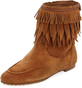 Aquazzura Tiger Lily Fringe Booties, Light Brown