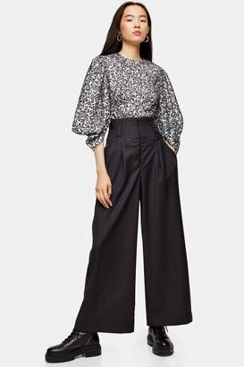 Topshop IDOL Charcoal Grey Wide Leg Trousers