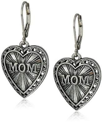 DAY Birger et Mikkelsen 1928 Jewelry Mother's Items Pewter Heart Mom Drop Earrings
