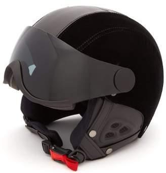 Roma Faux Leather And Velvet Helmet - Womens - Black