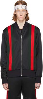 Gucci Black Web Detail Zip Hoodie