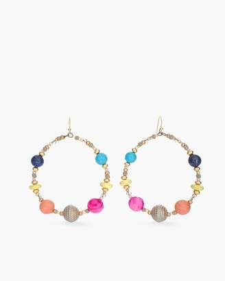 Multi-Colored Seed Bead Drop-Hoop Earrings