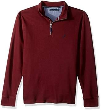 Nautica Men's Standard Long Sleeve Half Zip Mock Neck Luxe Sweatshirt