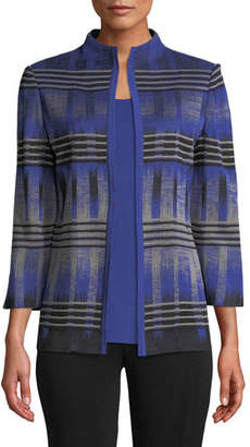 Misook High-Neck Graphic Knit Jacket