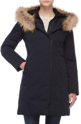 Soia & Kyo Asymmetrical Real Fur Trim Down Coat