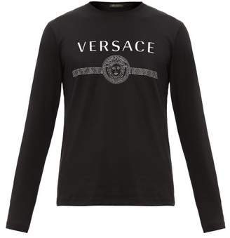 Versace Logo Print Cotton Jersey T Shirt - Mens - Black