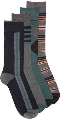 Aston Grey Side Stripe Crew Socks - 4 Pack - Men's