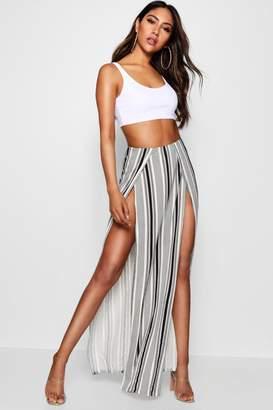 boohoo Striped Thigh High Split Maxi Skirt