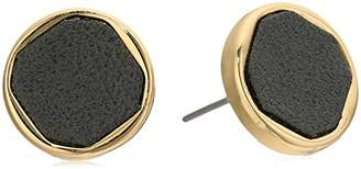 Laundry by Shelli Segal Leather Inlay Stud Earrings
