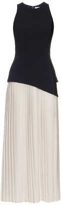Thierry Mugler Pleated-skirt crepe dress