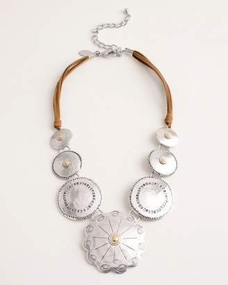 Chico's Chicos Short Silver-Tone and Brown Bib Necklace