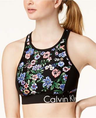 Calvin Klein Botanica Printed Keyhole Racerback Medium-Support Sports Bra