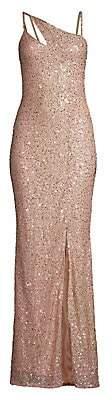 Parker Black Women's Imani Sequin Glitter Front Slit Column Gown - Size 0