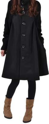 WSLCN Splicing Sweater Patchwork Single Breasted Swing Knit Women Turtleneck Pea Coats Outwear Cotton Blend Cloak