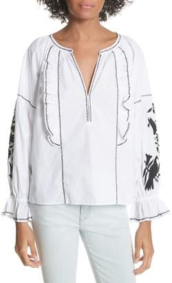 Joie Cleavanta Embroidered Peasant Blouse