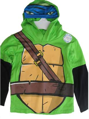 Nickelodeon Little Boys Black Ninja Turtles Print Hooded Shirt