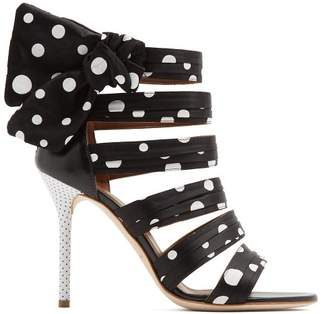 Malone Souliers X Emanuel Ungaro Joan Polka Dot Sandals - Womens - Black White