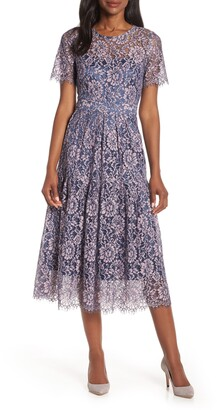 Eliza J Two-Tone Embroidered Lace Cocktail Dress