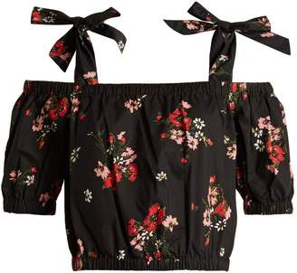 REBECCA TAYLOR Marguerite floral-print cotton cropped top