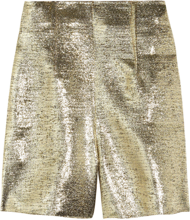 Lanvin High-waisted lamé shorts