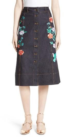 Women's Kate Spade New York Embroidered Denim Skirt