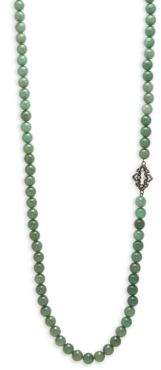 Armenta Old World Champagne Diamond, White Sapphires, Mossy Aventurine Beads & Sterling Silver Necklace