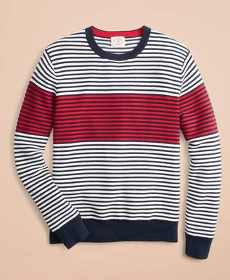 Brooks Brothers Color-Block Textured Striped Crewneck Sweater