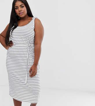 Junarose stripe midi dress with waist tie