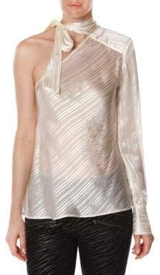 Paige Rosie Rona Stripe Silk One-Shoulder Blouse