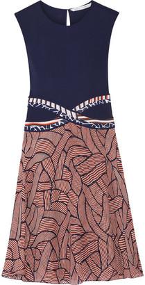 Diane von Furstenberg - Rosalie Jersey And Printed Chiffon Dress - Navy $450 thestylecure.com