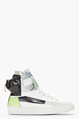 Raf Simons White & Green Patent Leather Astronaut Pocket Sneakers