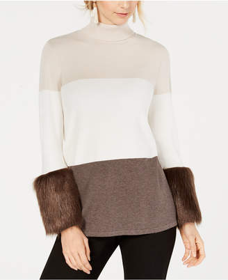 Alfani Petite Colorblocked Faux-Fur-Cuff Sweater