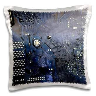 3dRose Blue computer chip macro photography - microchip - motherboard electronics circuits - tech geek nerd - Pillow Case, 16 by 16-inch