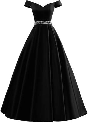 Rieshaneea Womens Off Shoulder Prom Dresses Beaded Long Formal Party Ball Gowns
